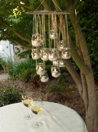 Tutorial eco chic chandelier i do it yourself planning an outdoor wedding or dinner party heres a simple diy garden chandelier tutorial from ecologue what a great way to reuse those little glass jars solutioingenieria Gallery
