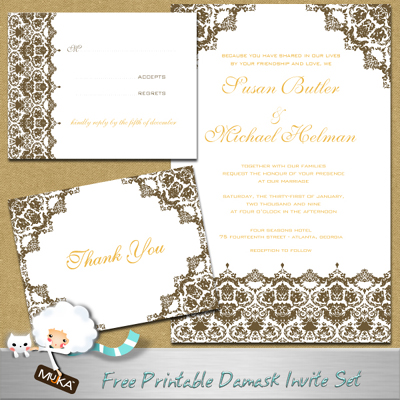 This lovely damask set includes an Invite card and matching Thank you and