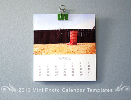 2010 mini photo calendar templates