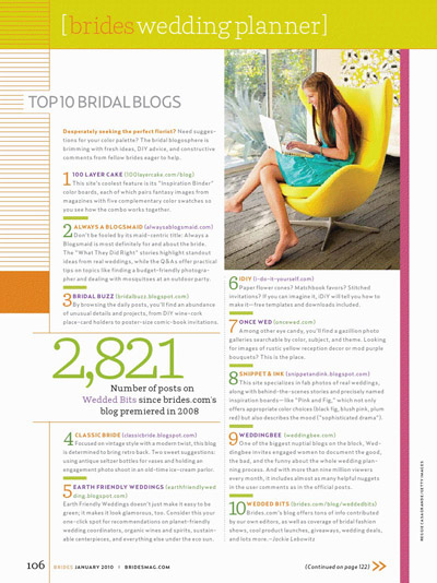 BRIDES Top Bridal Blogs 2