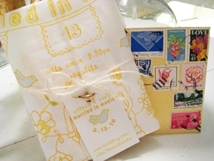 freezer paper handkerchief invites 1