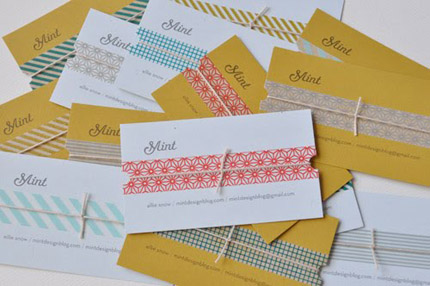Anese Tape Mint Business Cards Diy