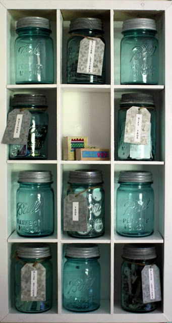 aqua mason jars theinspiredroom
